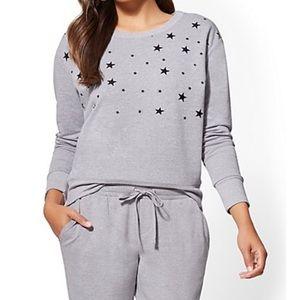 Gray Sweatshirt with Black Foil Stars
